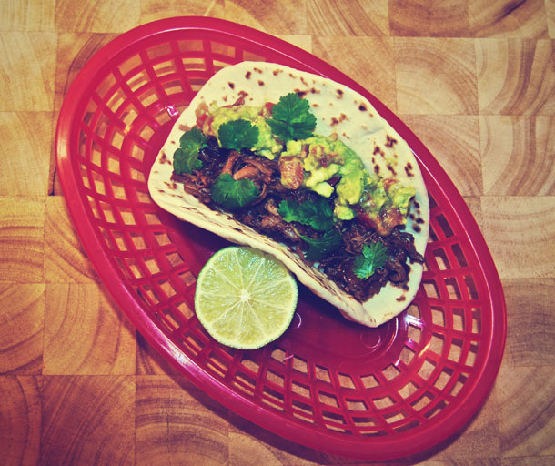 Pulled pork tacos med guacamole
